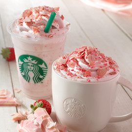 Soy strawberry cream frappucchino
