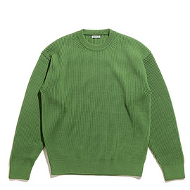 AURALEE - Super Fine Wool Rib Knit Big P/O-Green