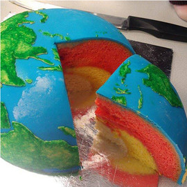 Earth Structural LayerCake with Inner Core, Outer Core, Mantle, and Crust
