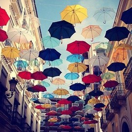 cacharel - Look at my umbrella!   Look at my umbrella!   umbrella, color, sky, street, blue, red, yellow, window, A touch of Fashion     Beauty Beauty     Everything is cultural     Beautiful design     Are you hungry?