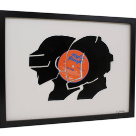 Daft Punk - Upcycled Hand Cut Vinyl Record Silhouette - Framed