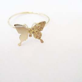 euro flat - 18KYG_butterfly_Ring