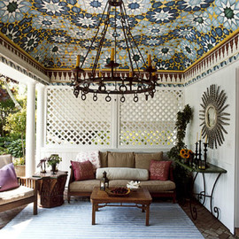 pool house with moroccan inspired mosaic ceiling