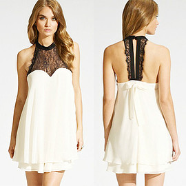 Sexy Backless Lace Spliced Halter Chiffon Dress