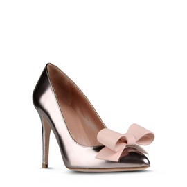 RED VALENTINO - Round toe pump in mirror calfskin leather with bow in PVC