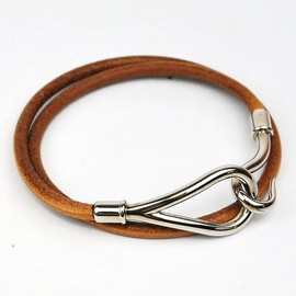 HERMES - JUMBO Silver Tone Leather Double Bracelet