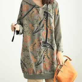 dress - Autumn Loose fitting clothes, hooded Blouse for Women, Oversized Long shirt dress