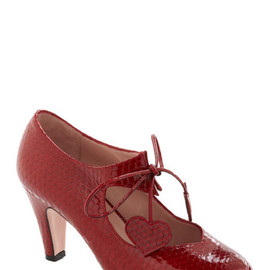 Minna Parikka - Heart of Bold Heel in Carmine Coil by Minna Parikka - Mid, Leather, Red, Animal Print, Party, Lace Up, Mary Jane