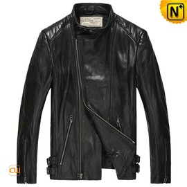 cwmalls - Mens Fitted Leather Bomber Jacket Black CW850231