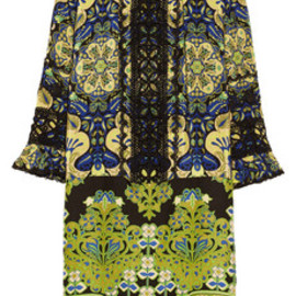 ANNA SUI - Printed crepe de chine and lace dress