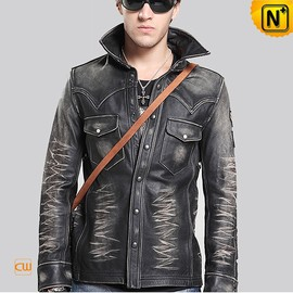 cwmalls - Distressed Leather Shirt-Jacket for Men CW850237