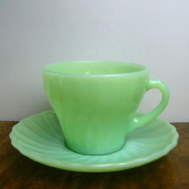 Fire King - Jadeite Shell Cup & Saucer