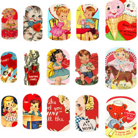 Nail Spin - Vintage Valentine Nail Art Decals