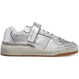 SAINT LAURENT - SS2019 Travis logo-print distressed perforated metallic leather sneakers