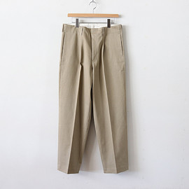 AURALEE|MEN - WASHED FINX CHINO TAPERED PANTS #LIGHT KHAKI [A8AP02CN]