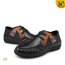 CWMALLS - Men Black Leather Flat Loafers Shoes CW701115 - cwmalls.com