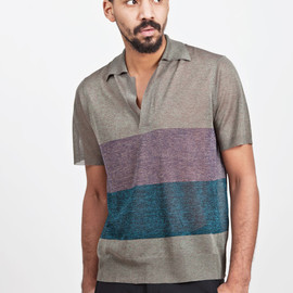 dries van noten - neddy knitted polo olive / aubergine