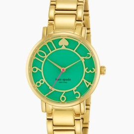 kate spade NEW YORK - gold bracelet gramercy w/ bud green enamel cutout