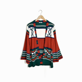 Vintage 70s Bohemian Tribal Cardigan Sweater