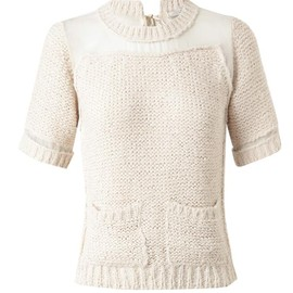 Nina Ricci - Mohair-blend knitted top with sheer panel