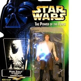 kenner - HAN SOLO IN CARBONITE WITH CARBONITE BLOCK & FREEZE FRAME ACTION SLIDE STAR WARS 1998 The Power of the Force Action Figure