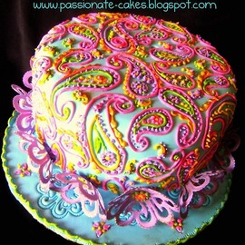 Passionate Cakes - Bollywood with Paisley design cake