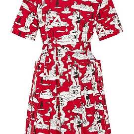 Prada - Printed cotton-poplin dress