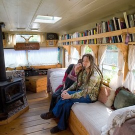 Tiny House Swoon - The Enchanted Gypsy Bus Home Interior living area