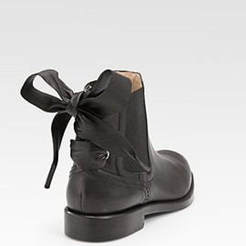 Valentino  -  Leather Laced Ankle Boots