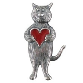 goreystore - Heart Cat Pin Sterling Silver