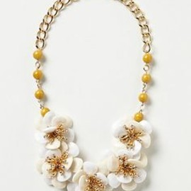 anthropologie - White Camellia Bib Necklace