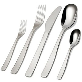 Alessi - AJM22S5M KnifeForkSpoon Cutlery Set, 5 Pcs, Monobloc Mirror Polished