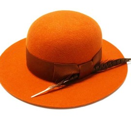 WORKING CLASS HEROES - WCH WIDE BRIM BOWLER HAT / DEEP ORANGE