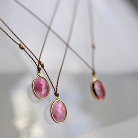 Margaret Solow - Enclosed Oval Pink Tourmaline Necklace
