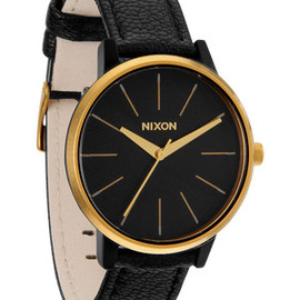 NIXON - The Kensington Leather in Black / Raw Gold