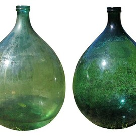 Vintage Large Green French Bottles