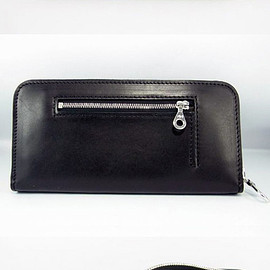 MIC - ROUND ZIP WALLET w/ POCKET BLACK CALF (NO LOGO)