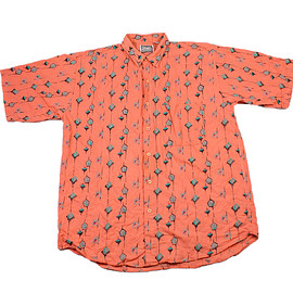 VINTAGE - Vintage 90s Salmon Color Geometric Print Button Up Shirt Mens Size Large