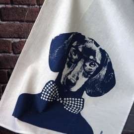 Lisa Bengtsson - Lisa Bengtsson Dog Tea Towel - Bow Tie & Glasses
