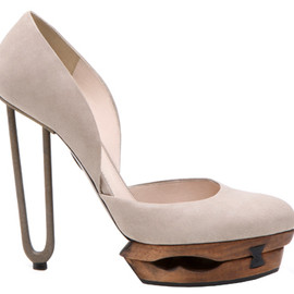 JIL SANDER - wooden platform shoes with metal tube heel