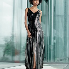 Akris - Akris Two-Tone Sequined Pleated Gown