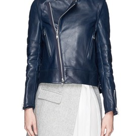 sacai luck - QUILTED SLEEVE LEATHER BIKER JACKET