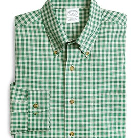 Brooks Brothers - Non-Iron Slim Fit Heather Gingham Sport Shirt (Green)