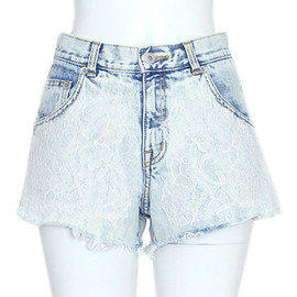 Candy stripper - Candy Stripper LAZY LACE DENIM SHORTS