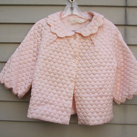 Antique - Pink Satin Quilted Bed Jacket