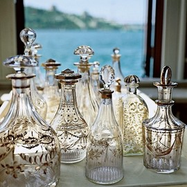 gilded-glass decanters from the late 18th and early 19th centuries.
