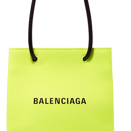 BALENCIAGA - SS2019 XXS printed neon textured-leather tote