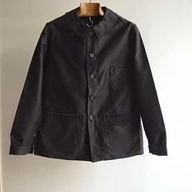 "1940s french work black moleskin jacket ""dead stock"""