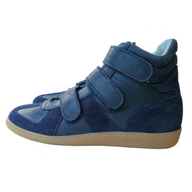 Maison Martin Margiela - LEATHER PANELLED HI TOP SNEAKERS WITH VELCRO CLOSURE NAVY