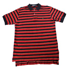 POLO RALPH LAUREN - Polo by Ralph Lauren Red/Navy Striped Polo Shirt Mens Size Small